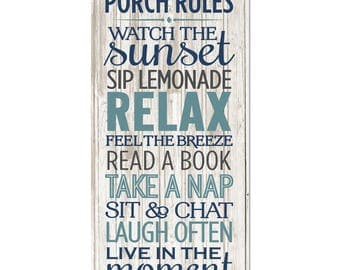 Porch Rules Rustic Wood Wall Sign 9x18