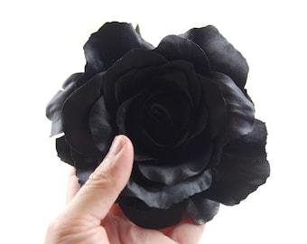 Black rose hair flower clip