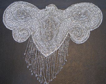 1920s Flapper Beaded Butterfly Applique for Dress, 20s Dress Trim