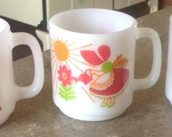 3 Vintage Glasbake Friend Love Imagine Glass Coffee Mug Set of 3