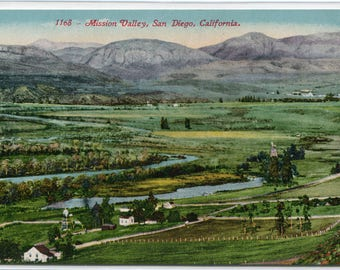 Mission Valley Panorama San Diego California 1910c postcard