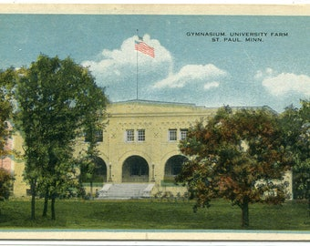 Gymnasium University Farm St Paul Minnesota 1920s postcard