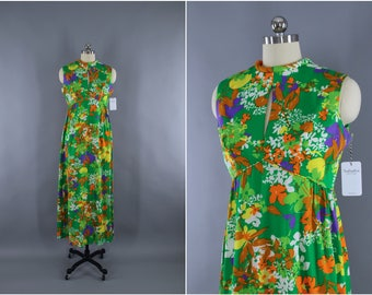 Vintage 1960s Dress / 60s Hawaiian Print Dress / LIBERTY HOUSE / Maxi Dress / Aloha Dress / Green Floral Print
