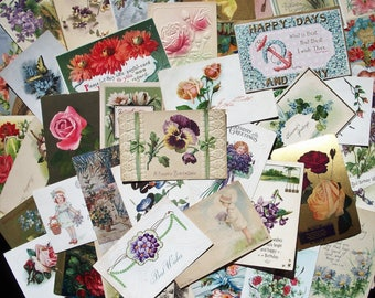Penny Postcards - 50 Vintage ASSORTED Greeting & Birthday Cards