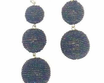 Dark Rainbow Seed Bead wrapped Les Bonbon bon bon Earrings 3 Balls Hanging
