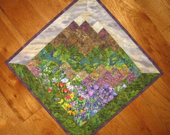 "Purple Sky Mountain Flower Art Quilt, 29"" Diagonal Textile Landscape"