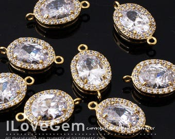NP-1798 Gold Plated, Cubic zirconia, Oval Connector, 10X17mm, 2pcs