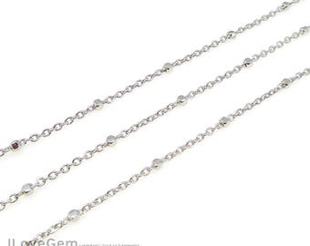 1meter, NP-2030, Rhodium plated, 230SB1, Chain with 1.4mm Faceted Square Beads, Satellite chain, Delicate chains