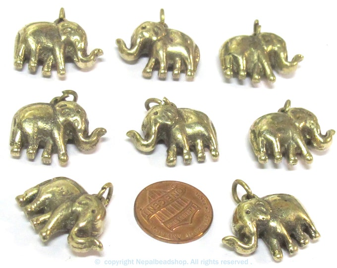 8 Pendants - Small size ethnic Tibetan solid brass elephant pendant from Nepal  wholesale bulk lot - CP132s