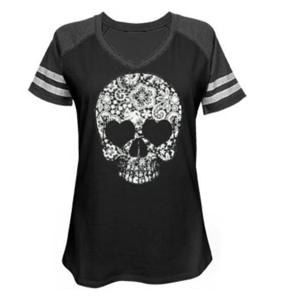 Lace Skull Game Day V Neck Jersey Tee