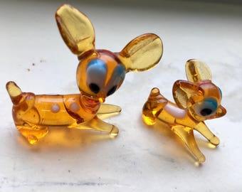 Minarure glass deer set of two vintage