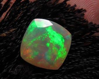 Ethiopian Welo OPAL - AAAAAAAAAA - High Quality Fine Cut Faceted Cushion Stone Full Flashy Color Full Fire size - 10 x 10 mm - Height 6 mm
