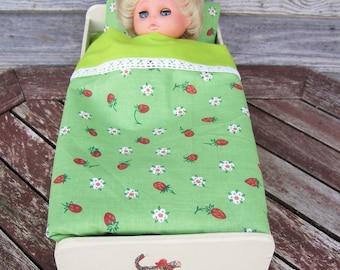 Doll Bedding Set 4pcs, Doll Bed Linen, Bedding - Sheet, Blanket, Pillowcase, Pillow, Toys, Gift for girl, Dolls, Handmade