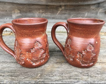 Red Stoneware Mug with Imprint