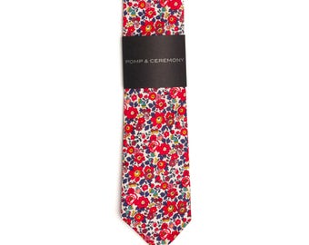 Men's tie, Liberty print Betsy Anne red