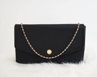 Vintage 80s Black Clutch Purse Shoulder Evening Bag with Chain and Faux Pearl Button