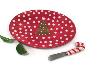 Christmas Cheese Plate with Candy Cane Speader