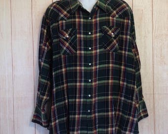 Vintage 90s Plains Green Plaid Pearl Snap Flannel Shirt Long Sleeve Mens 3X