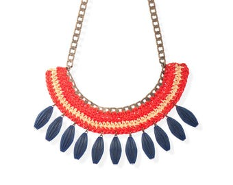 Red and Blue Statement Necklace, Bold Fan Necklace Women's trendy Jewelry, Handmade unique necklace for her