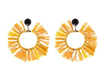 Yellow Earrings , Trendy hoop lightweight earrings , statement earrings , Circle tassel Natural Jewelry hippie Sun earrings naama brosh