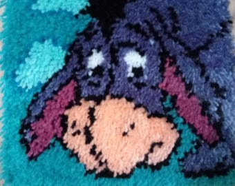 Finished Eeyore latch hook wall hanging or rug