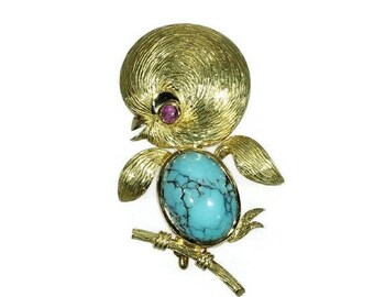 ON SALE Yellow Gold Turquoise Bird Brooch Ruby Cabochon Bird Pin 1950s