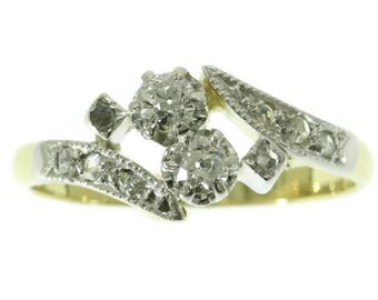 Two diamond engagement ring antique 18k yellow gold old European cut diamonds .30ct rose cut diamonds Belle Epoque jewelry