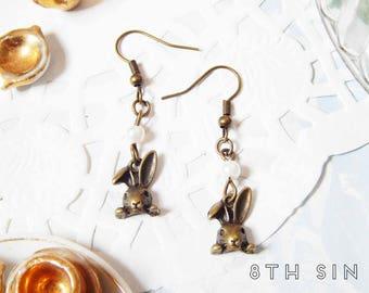 Antique Bronze Rabbit Earrings, Antique Bronze Bunny Rabbit Earrings, Antique Bronze Alice Rabbit Earrings, Antique Bronze Bunny Earrings