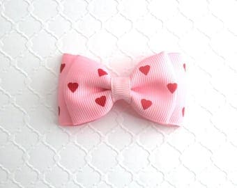Valentine's Day Hair Bow ~ Toddler Valentine Bow, Girls Heart Hair Clip ~ Pastel Light Pink Hair Bow ~  Baby Hair Bow