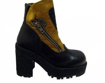 Cyberpunk Platform Boots Vintage Womens Destroy Mustard Yellow  Leather Zip Boots Fits Wms Sz 8 Euro Sz 38-39