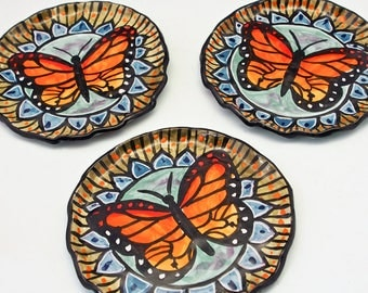 Monarch Butterfly Ceramic Round Spoon Rest, Ceramic Tray, Orange, Butter Dish, Majolica Tray Dish, Trinket Tray, Small Plate, Gift for her