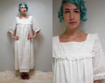 White Cotton Wedding Dress  //  Muumuu Dress  //  White Eyelet Dress  //  THE KAIULANI