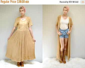 sale 25% off - Duster Dress //  Boho Rayon Dress  //  India Embroidered Dress  // THE GOLDENROD