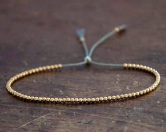 Gold Bead Bracelet, Solid 10k Yellow Gold Beaded Friendship Bracelet