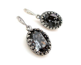 Swarovski silver night vintage oval foiled crystal rhinestone rhodium sterling silver cubic zirconia hook bridesmaid gift prom earrings