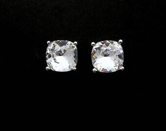 christmas prom party bridal wedding jewelry bridesmaid gift Swarovski crystal clear square cushion cut foiled rhinestone stud earrings