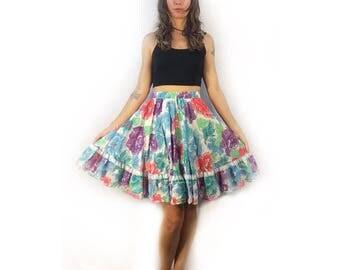 Unworn Deadstock vintage 70s floral square dance skirt // size small medium