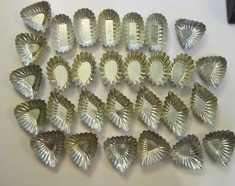 29 vintage tin molds - candy molds, tartlet molds, tartlet molds - made in Sweden