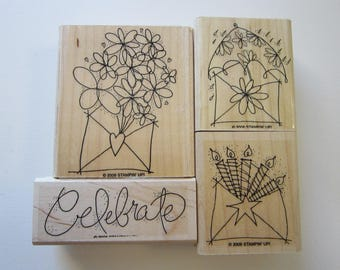 4 rubber stamps - Send a CELEBRATION - Stampin Up 2006