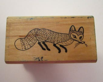 htf vintage rubber stamp - Rosie's Fox - Pat Hutchins for Kidstamps 1986 - used rubber stamp