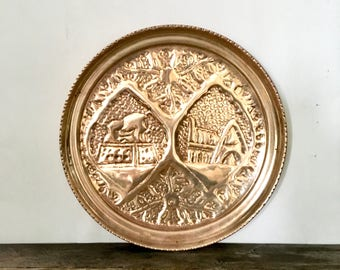 Large Brass tray / Round Solid Brass Wall Medallion with ornate Design