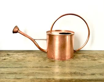 Large Solid Copper Watering can with Long copper spout and handle