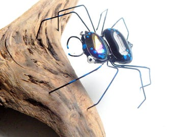 Blue Dot Black Spider, Copper Wire Spider, Wire Art, Medium Spider, One of a Kind Arachnid Collectible, Gift for Him, Her Birthday