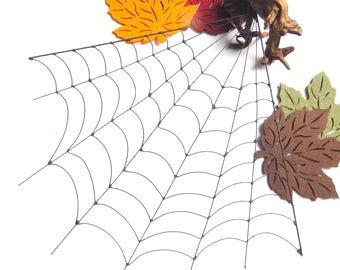 Large 12 Inch Corner Black Wire Spider Web, Copper Wire Art, Halloween Decoration, Window Decor, Wall Decor, Fall Decor