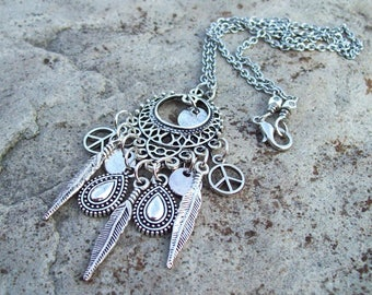 Dreamcatcher chandelier Pendant necklace, Chain Necklace, feather charms, Peace symbol charms, Bohemian necklace, hippie jewelry