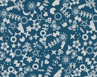Cotton and Steel Paper Cuts Cut it Out Teal Fabric by the Half Yard