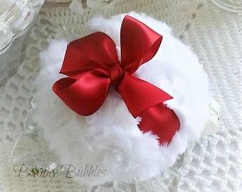 RED Powder Puff - pouf rouge - powderpuff - gift box option - handmade by Bonny Bubbles