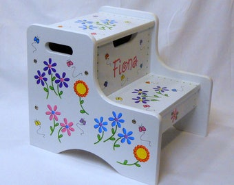 Large Personalized Two Step Stool with Daisy Flowers and Butterflies
