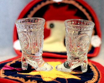 Two boots-glasses. It is made from crystal for 80 years in the Soviet Union