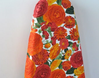 Ironing Board Cover - orange and red flowers on white background